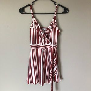 Maroon and white romper.
